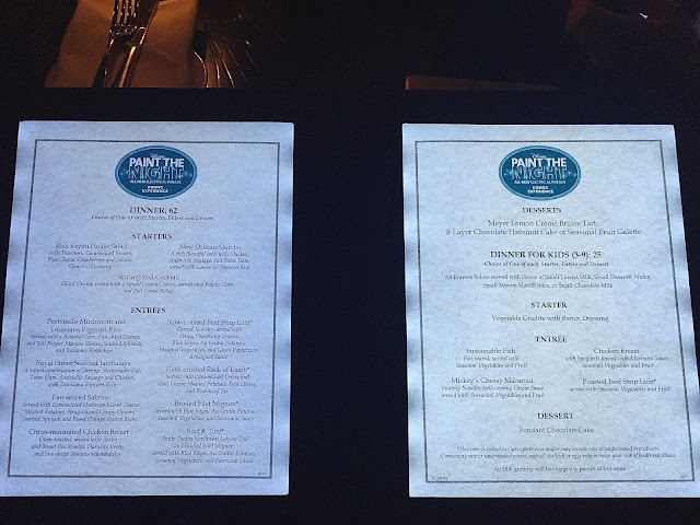 Blue Bayou menu picture paint the night package
