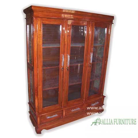 lemari kaca hias kayu jati 3 pintu laci