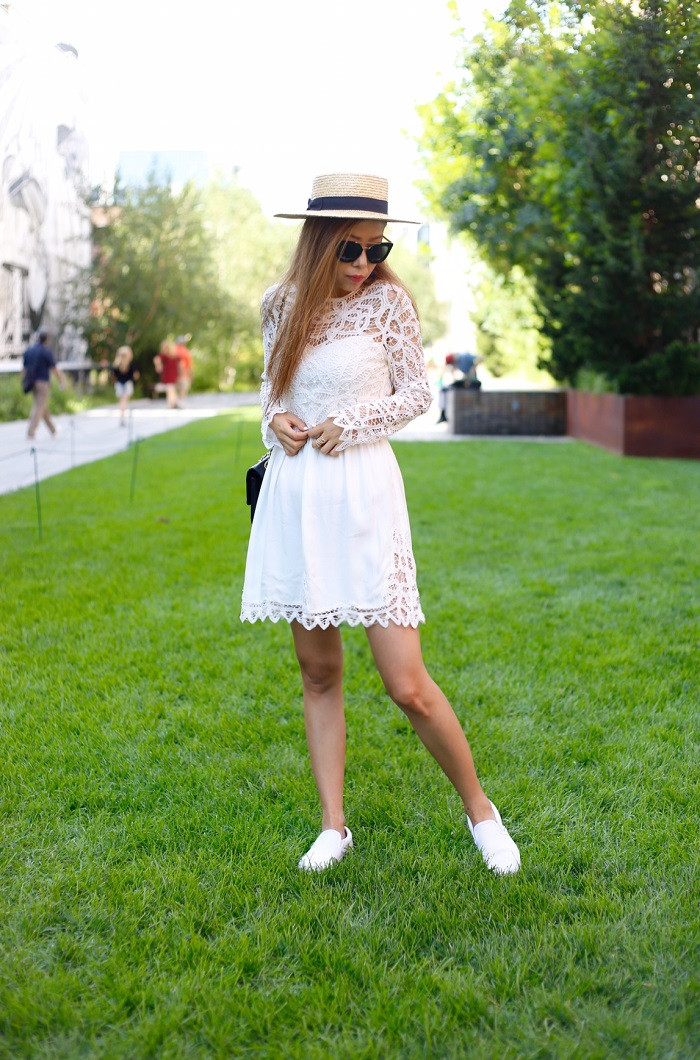 Saylor josie dress, baublebar tassel earrings, t and j glam, t and j designs, chanel classic flap bag, lack of color hat, prada sunglasses, fashion blog, new york fashion blog, street style, highline nyc,little white dress, how to wear little white dress from day to night