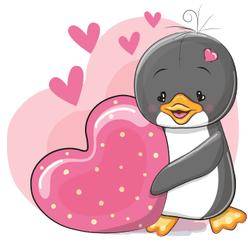Heart penguin emoji