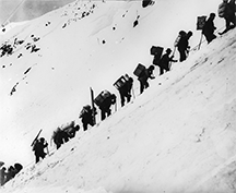 Gold Miners headed up the Golden Stairs, Chilkoot Pass, YK