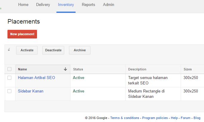Menentukan penempatan iklan di Google DFP