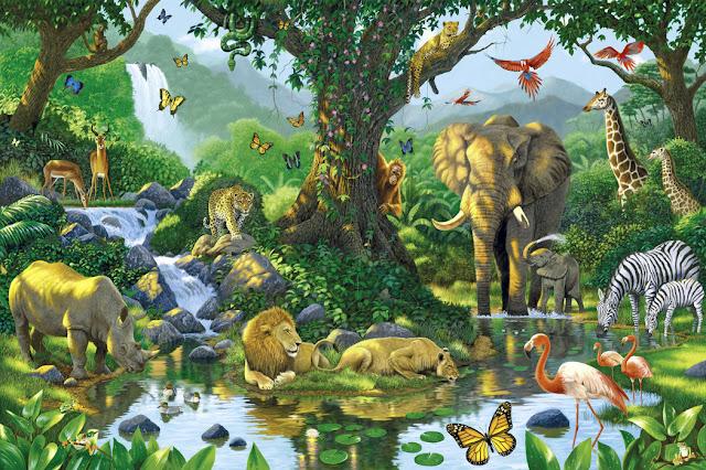 Viidakko tapetti eläimet