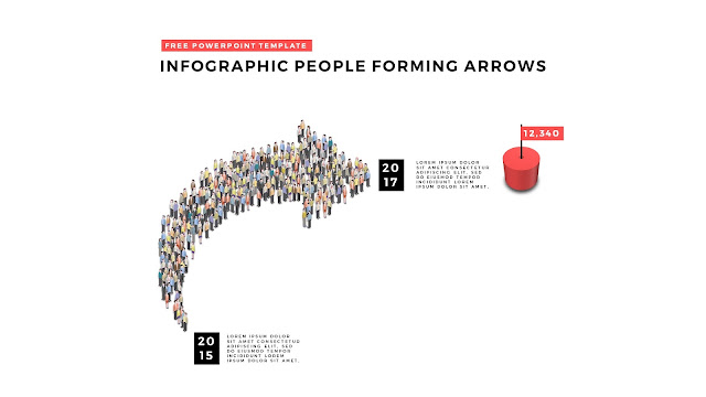 Free PowerPoint Template with Infographic People Forming Arrows Slide 1