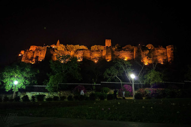Moti Dungari hill fort lit up in the night