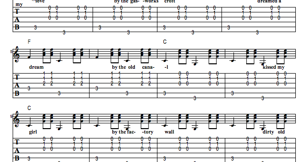 Guitar Tabs: Guitar Tabs And Song Sheet For: Dirty Old Town