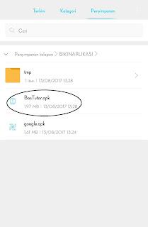 bisa mencari file yang anda buat di penyimpanan telepon atau sdcard di Folder BIKIN APLIKASI