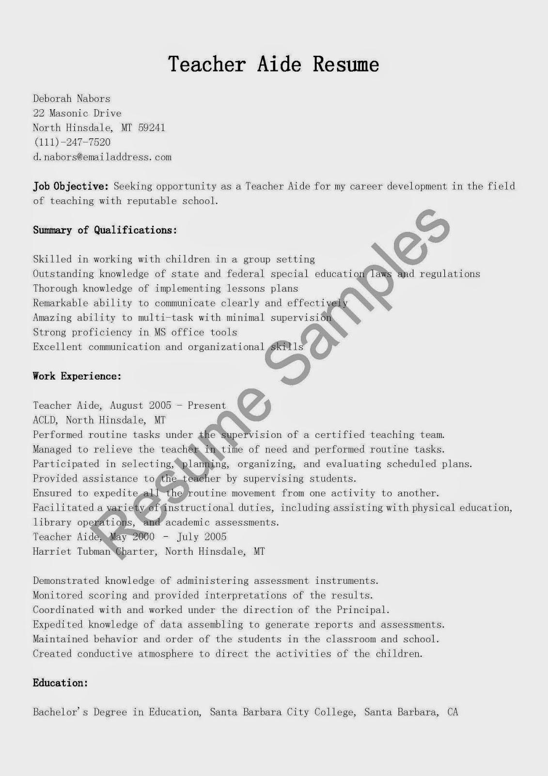 resume samples teacher aide resume sample