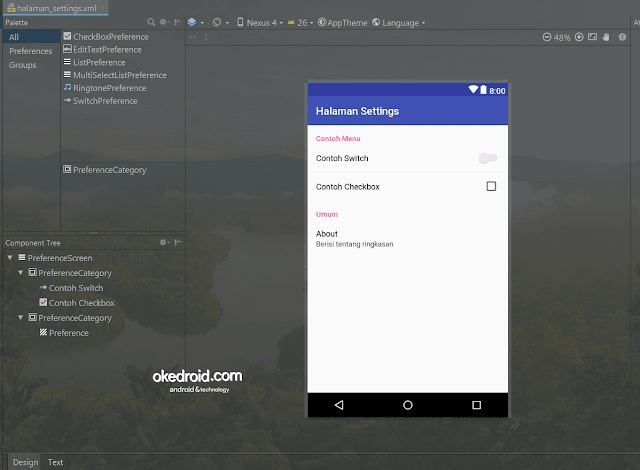 halaman_settings.xml Android Studio