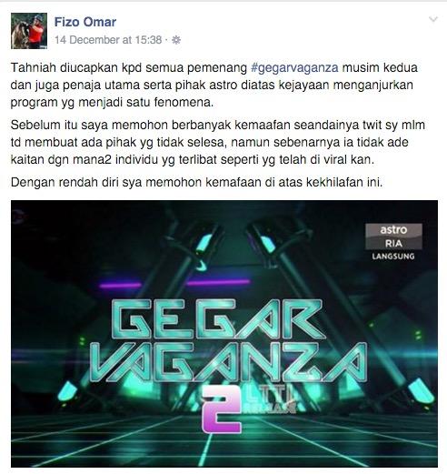 Tweet kritik Dato Vida, ini penjelasan Fizo Omar
