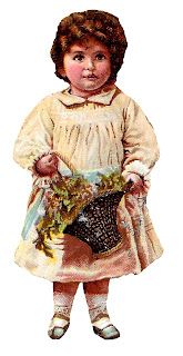 girl child image vintage illustration flower basket digital clipart