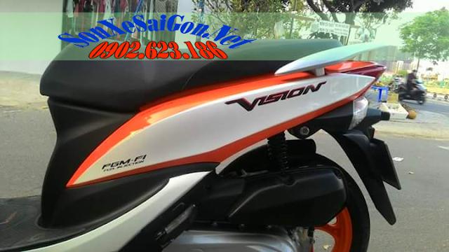 Sơn xe Vision phối màu trắng cam