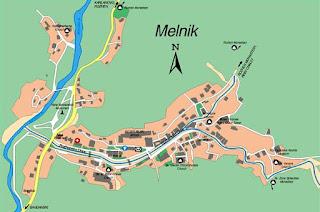 Mapa de Melnik, Bulgaria.
