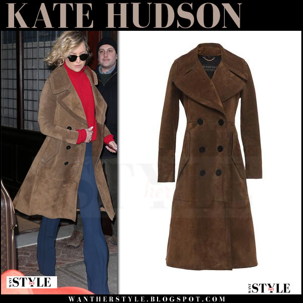 Kate Hudson in brown suede Burberry coat and blue pants what she wore winter style