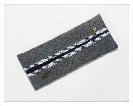 DIY Denim Pencil Case.  Photo Sewing Tutorial.
