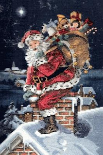 Rooftop Santa Cross Stitch Picture kit