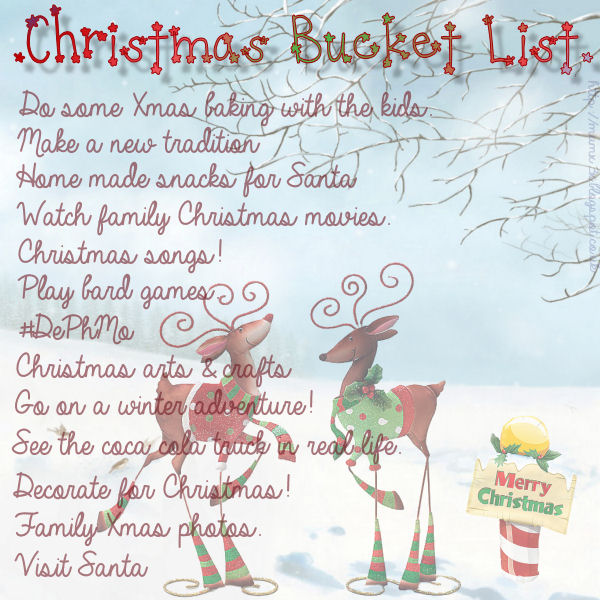 Christmas bucket list.