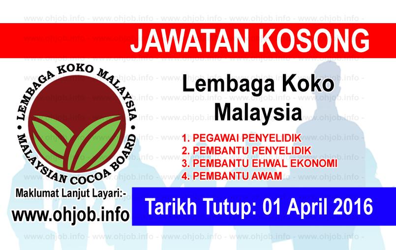 Jawatan Kerja Kosong Lembaga Koko Malaysia logo www.ohjob.info april 2016