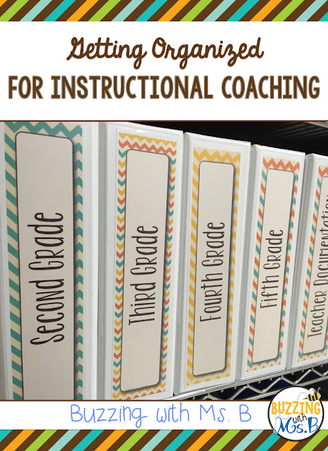 Getting organized is a priority for a new instructional coach, and for a coach who's been around for a while! These tips and strategies will help you organize your materials for planning, figure out which binders you actually need, and keep your most used resources handy! #instructionalcoach #instructionalcoachingorganization