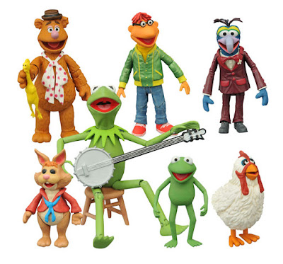 The Muppets Select Action Figures Series 1 by Diamond Select Toys - Kermit the Frog, Fozzie Bear, Gonzo with Camilla, Scooter, Robin & Bean Bunny