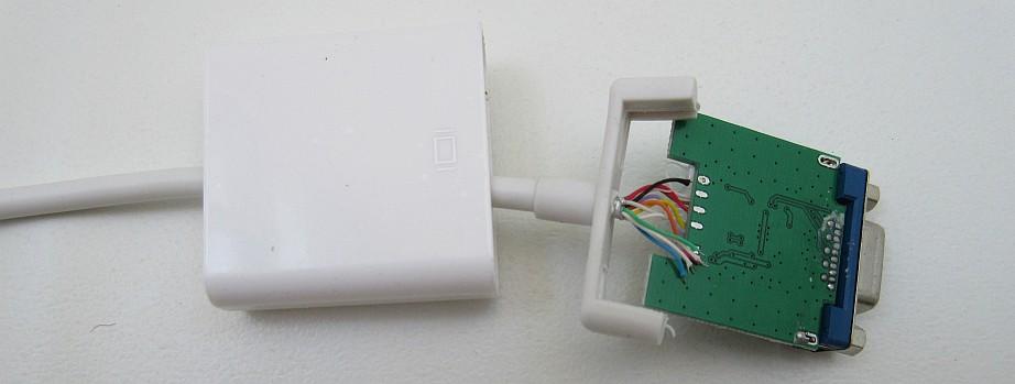 Hardware by design: Fixing Displayport to VGA adapter on subwoofer plug, s-video plug, at keyboard plug, microphone plug, ps2 plug, av plug, network plug, rgb plug, grounded plug,