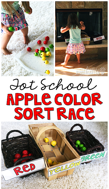 Learning is more fun when it involves movement! Sort by color with an apple themed relay race. Great for tot school, preschool, or even kindergarten!