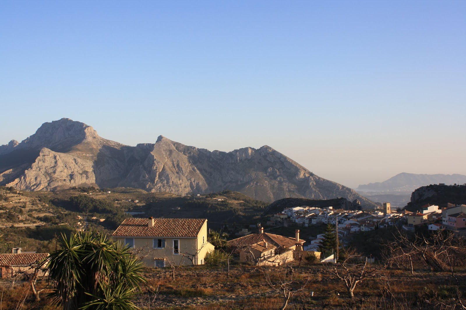 View of the village of Tàrbena from La Panavista cycling accommodation, Costa Blanca, Spain