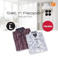 Dusdusan Salt N Pepper Textured Shirt Size L (Set of 2) ANDHIMIND