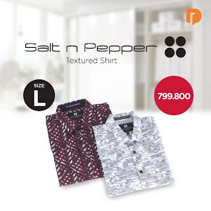 Salt N Pepper Textured Shirt Size L (Set of 2)