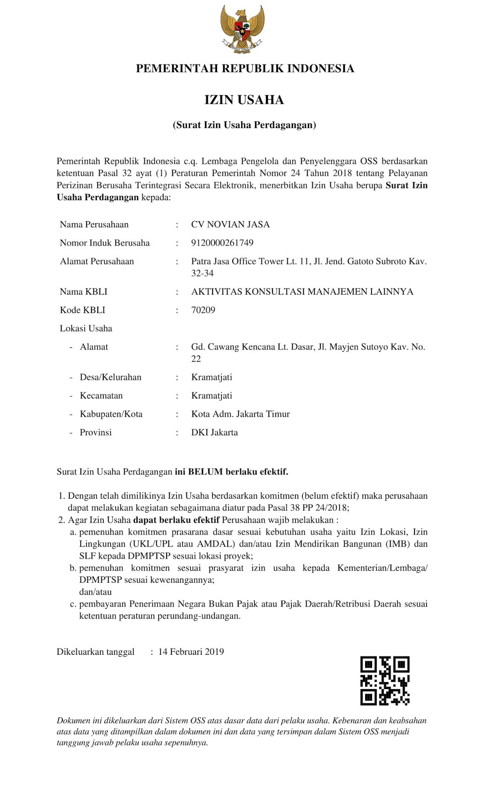 Merubah Surat Izin Usaha Perdagangan Ini Belum Berlaku Efektif Menjadi Telah Berlaku Efektif Di Oss Jasa Izin Usaha Nib 2020