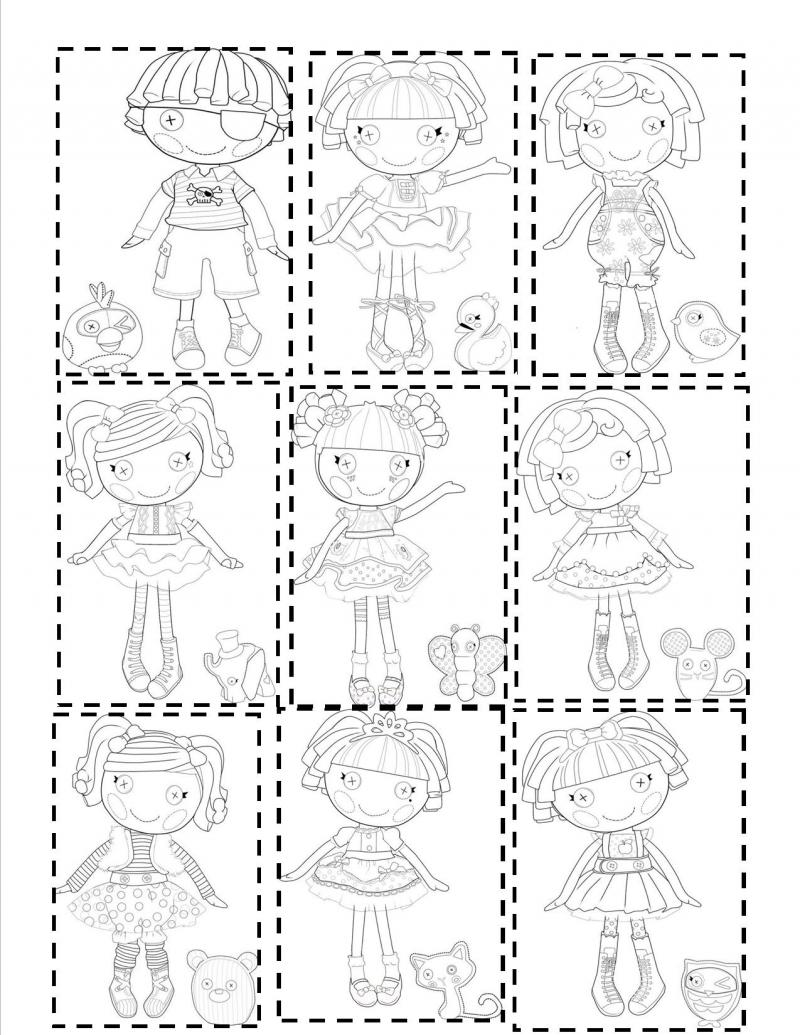 lalaloopsy coloring pages - lalaloopsy mini littles tippy tumblelina and twisty