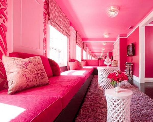 Pink Living Room Furnishing And Decor Desain Ruang Tamu Cantik