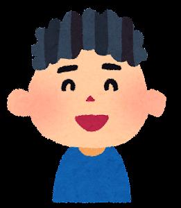 男の子の表情のイラスト「笑った顔」