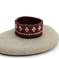 купить бохо украшения ручной работы широкое кольцо из бисера