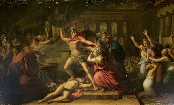 Death of Priam by Pietro Benvenuti, Macabre Art, Macabre Paintings, Horror Paintings, Freak Art, Freak Paintings, Horror Picture, Terror Pictures