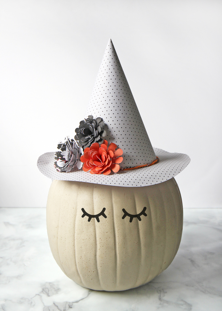 Pumpkin Decorating Idea: Witch Pumpkin with Paper Flower Hat