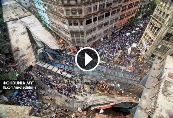 Video CCTV: Jejambat Kolkata di India Runtuh Berpuluh Maut