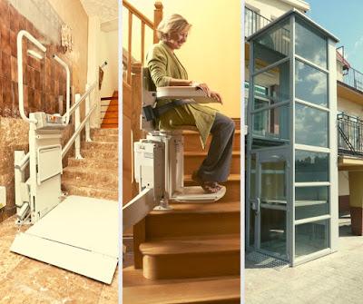 Platforma dźwigowa, krzesełko schodowe i podnośnik pionowy umożliwiają osobom niepełnosprawnym przemieszczanie się pomiędzy poziomami budynku.