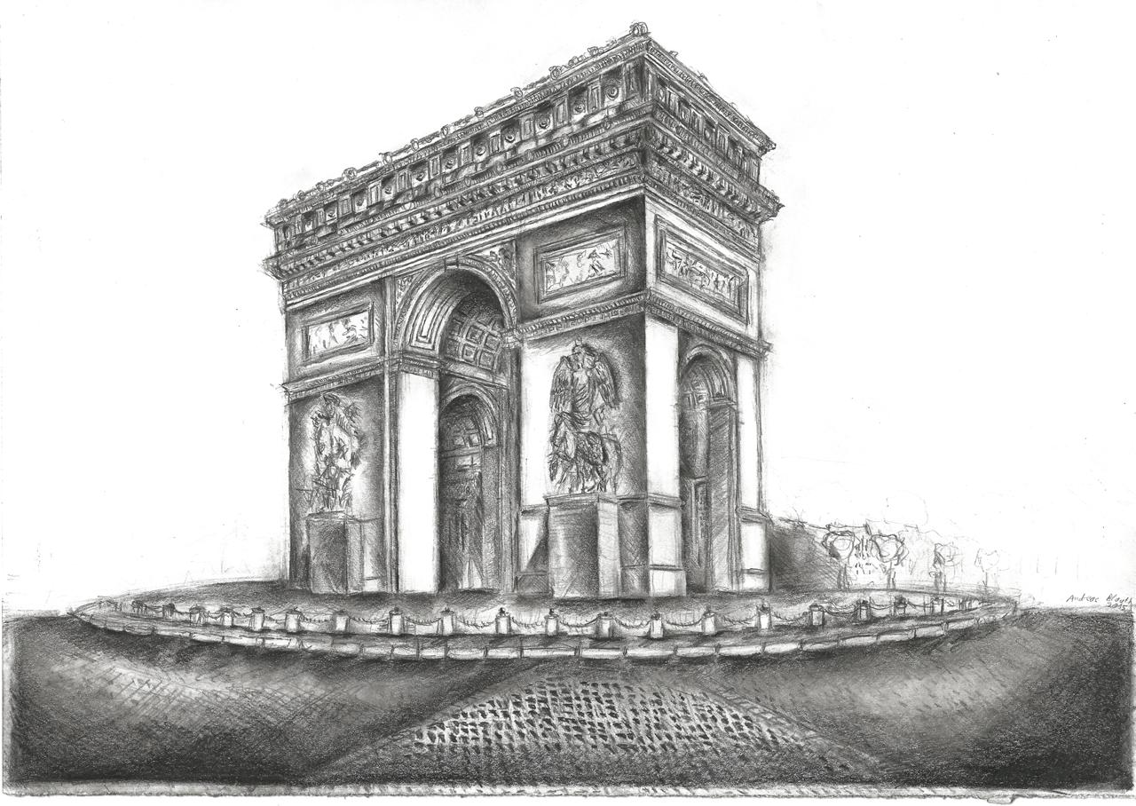 Arc de Triumphe de Paris, Januar 2015, Bleistiftzeichnung