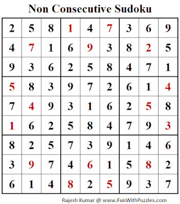 Answer of Non Consecutive Sudoku Puzzle (Fun With Sudoku #301)