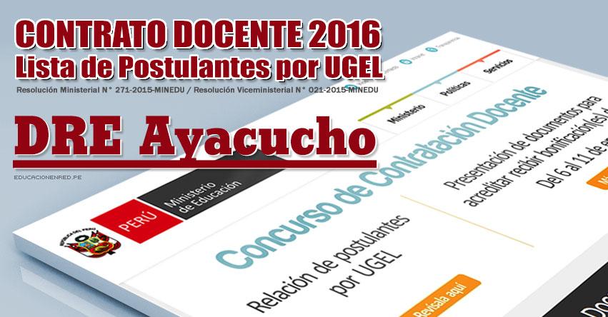 Dre ayacucho lista de postulantes por ugel para plazas for Vacantes concurso docente 2016