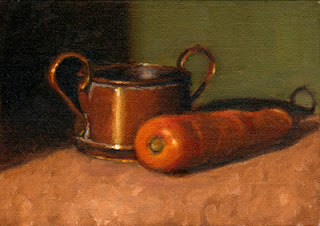 Oil painting of a carrot beside a small copper pot.