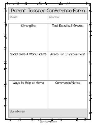 Thehappyteacher parent teacher conferences 8 more tips for Parent teacher meeting report template