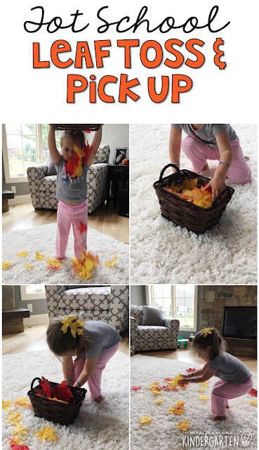 Learning is more fun when it involves movement! This leaf toss and pick up activity is so much fun. Great for tot school, preschool, or even kindergarten!