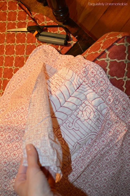 Cutting floral and velvet shams