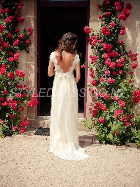 V-Neck Backless Beading Ribbon Garden Lace Wedding Dress (11342027)