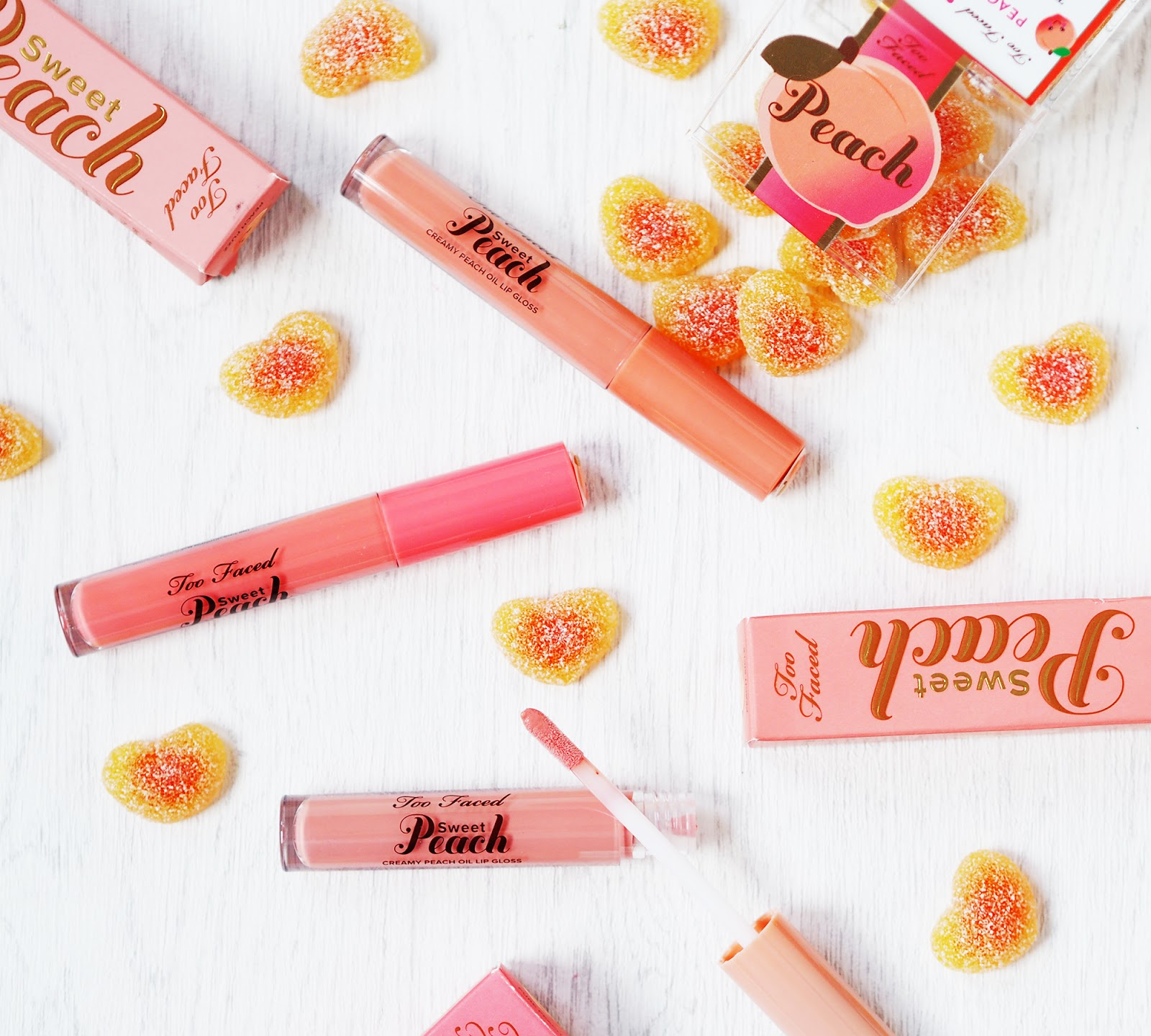 Too Faced Sweet Peach Lip Oil Glosses review