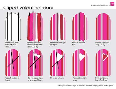 Zoya Striped Valentine Mani - Step-by-Step (work / play / polish)