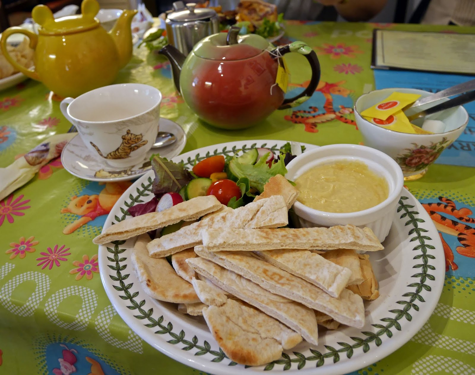 Hummus and pitta bread for lunch at Piglet's Tearoom, Ashdown Forest