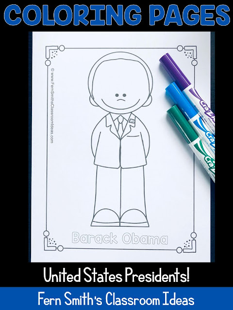NOW UPDATED with Joe Biden! Forty-Eight Coloring Pages for Presidents' Day, This Color For Fun Printable Coloring Book Include George Washington to Joe Biden! This Presidents' Day Resource is perfect for when you are teaching Presidents' Day as it includes all of the presidents. Perfect for Many Different Types of Presidents' Day Activities in Your Classroom or Home!